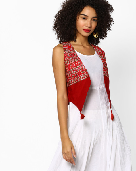 Open-Front Jacket With Patterned Weave By Melange By Lifestyle ( Pink )