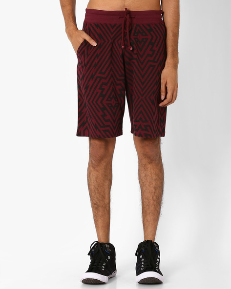 AOP Regular Shorts With Drawstring Waist By Garcon ( Maroon )