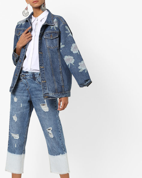 Mid-Wash Distressed Jeans By AJIO ( Lightblue )