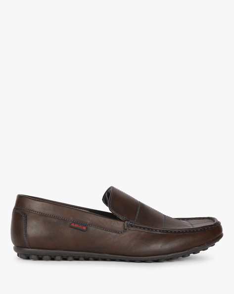 Textured Loafers With Running Stitch Detail By DUKE ( Brown )