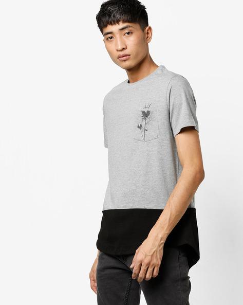 Colourblock T-shirt With Patch Pocket By AJIO ( Greymelange )