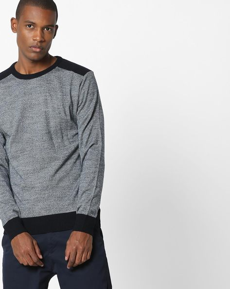 Slim Fit Pullover With Ribbed Hems By NETWORK ( Navy )