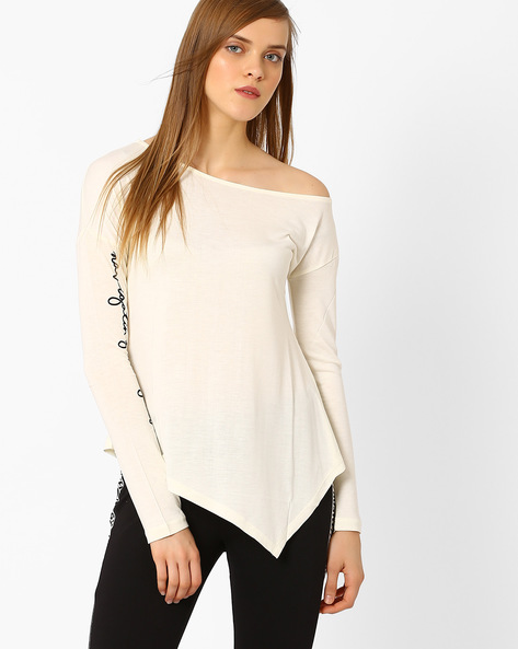 One-Shoulder Top With Asymmetrical Hem By AJIO ( Offwhite )