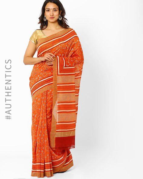 Bagru Print Chanderi Saree With Ghicha Border By Indie Picks ( Orange )