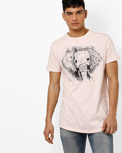 Crew-Neck Graphic Print T-shirt By AJIO ( Purple )