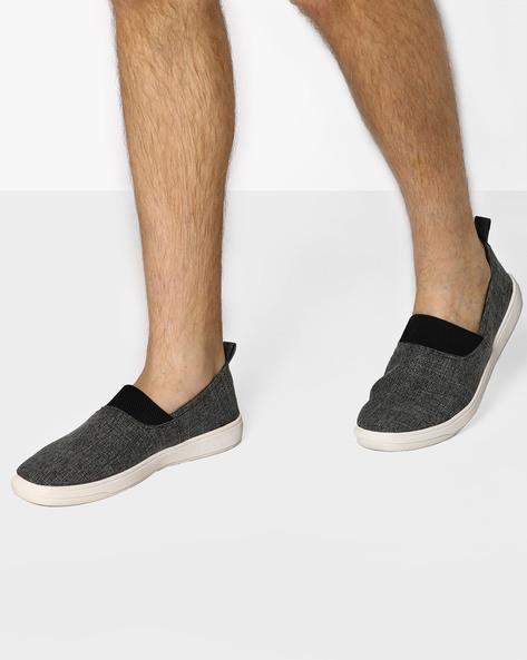 Canvas Slip-On Sneakers By AJIO ( Black )
