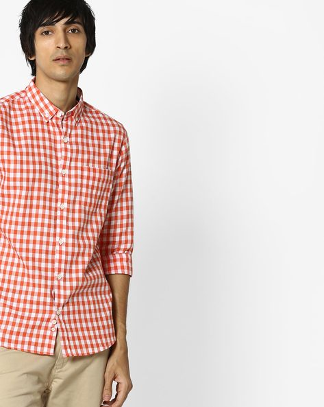 Checked Button-Down Shirt With Patch Pocket By UNITED COLORS OF BENETTON ( Orange )