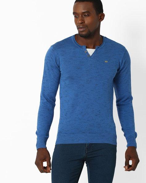 Regular Fit Henley T-shirt By NETPLAY ( Blue )