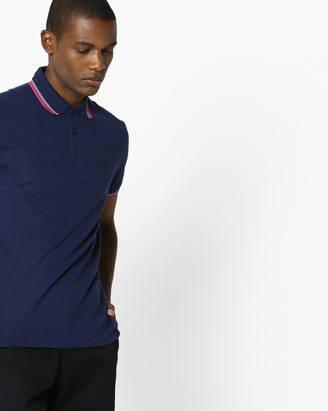 Polo T-shirt With Contrast Tipping By UNITED COLORS OF BENETTON ( Navyblue )