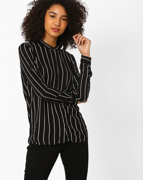 Striped Shirt With Band Collar By Only ( Black )