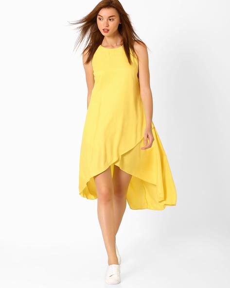 Sleeveless High-Low Dress By AJIO ( Yellow )