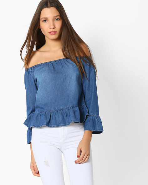Denim Off-Shoulder Top By And ( Blue )