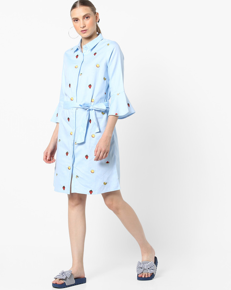 Embroidered Shirt Dress With Waist Tie-Up By AJIO ( Lightblue )