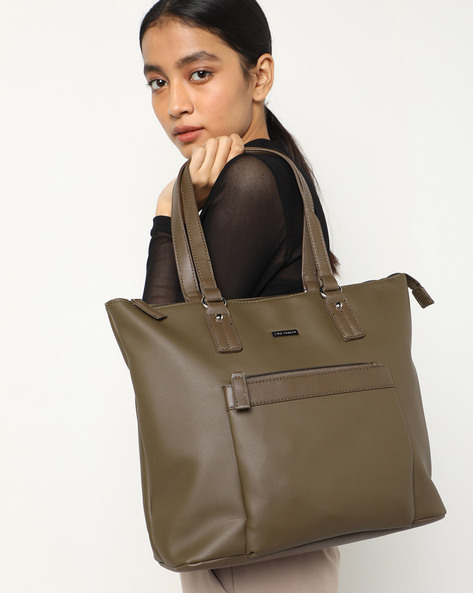 Tote Bag With Flat Straps By Lino Perros ( Olive )