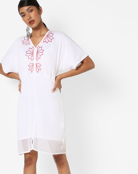 Panelled Dress With Embroidery By AJIO ( Ecru )