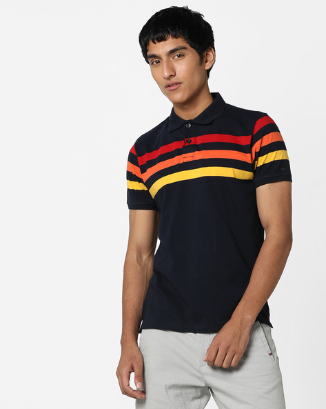 Slim Fit Striped Polo T-shirt By BASICS ( Navy )