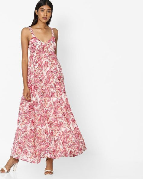Floral Print Strappy Dress By Sassafras ( Red )