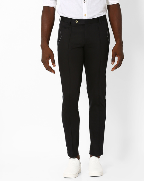 Slim Fit Trousers With Stitch Detail By MR.BUTTON ( Black )