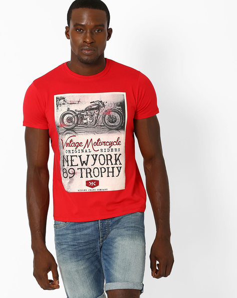 Slim Fit Graphic Print Crew-Neck T-shirt By Killer ( Assorted )