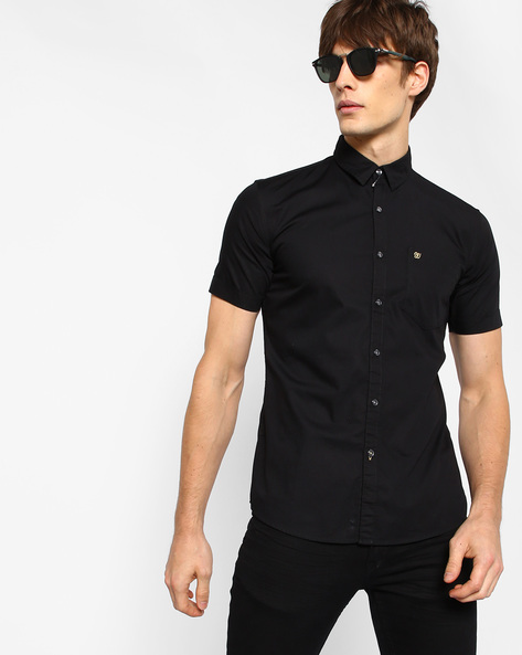 Powell Poplin Shirt With Patch Pocket By WRANGLER ( Black )