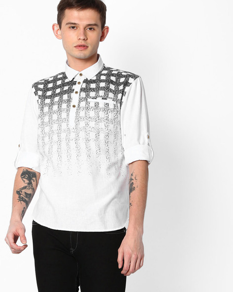 Printed Slim Fit Shirt By The Indian Garage Co ( Black )