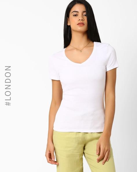 V-neck Cotton T-shirt By Marks & Spencer ( White )