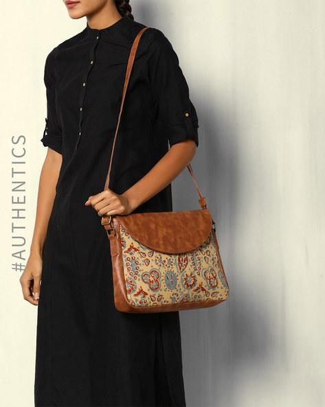 Ajrak Vegan Leather Cross-Body Sling Bag By A BIG INDIAN STORY ( Tan )