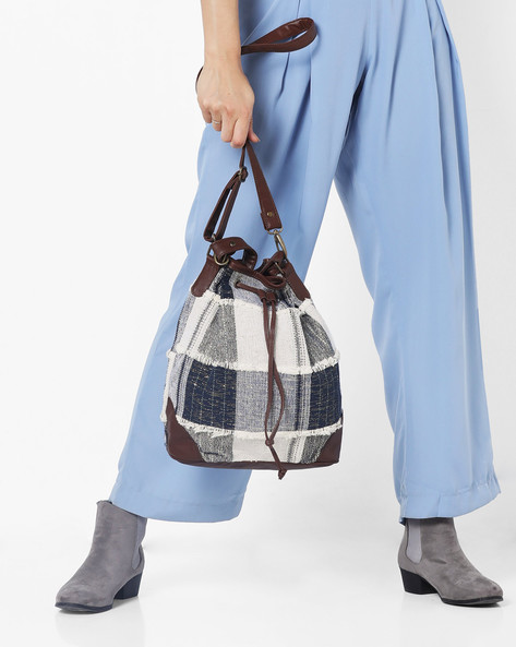 Woven Hobo Bag With Drawstring Closure By Project Eve ( Multi )