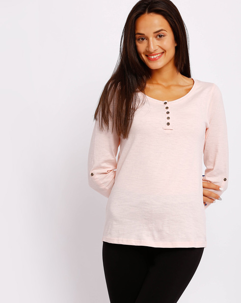 Henley T-shirt With Roll-up Sleeves By FIG ( Pink )