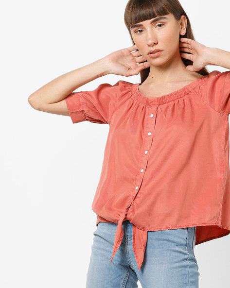 Panelled Shirt With Front Tie-Up By Vero Moda ( Lightred )