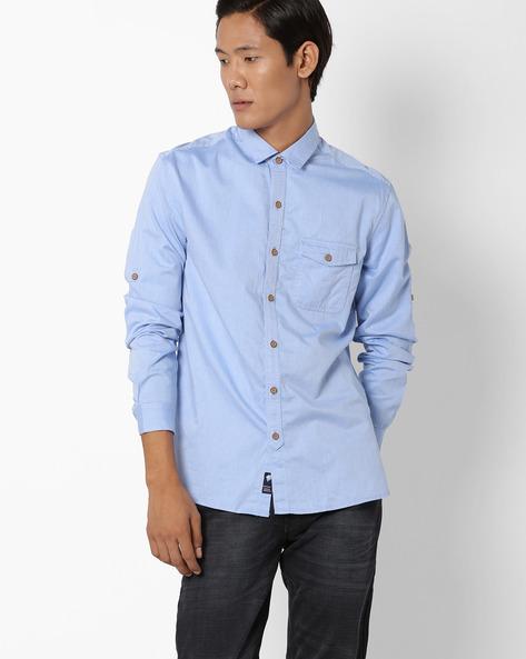Striped Regular Fit Shirt By NETPLAY ( Blue )