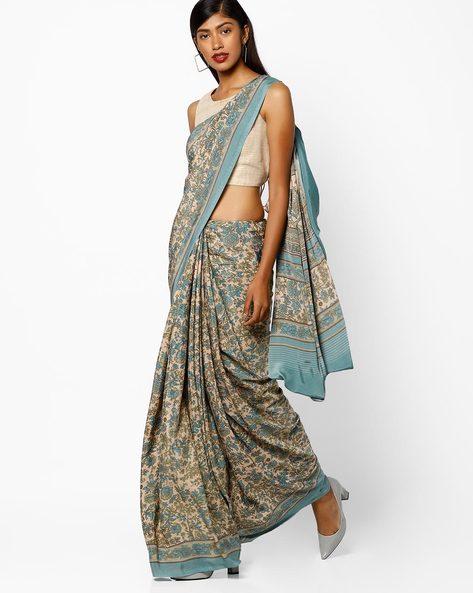 Floral Print Saree By Majestic Silk ( Lightblue )