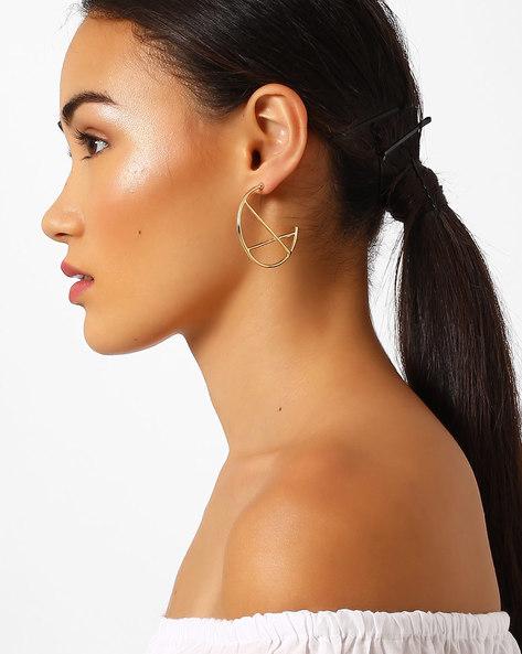 Criss-Cross Hoop Earrings By Pipa Bella ( Gold )