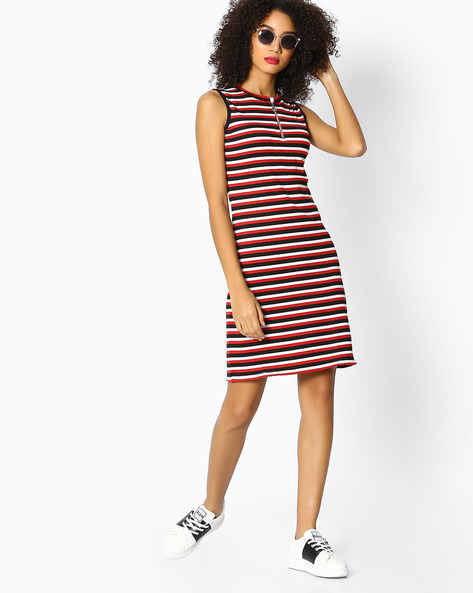 Striped Sleeveless Sheath Dress By Teamspirit ( Red )