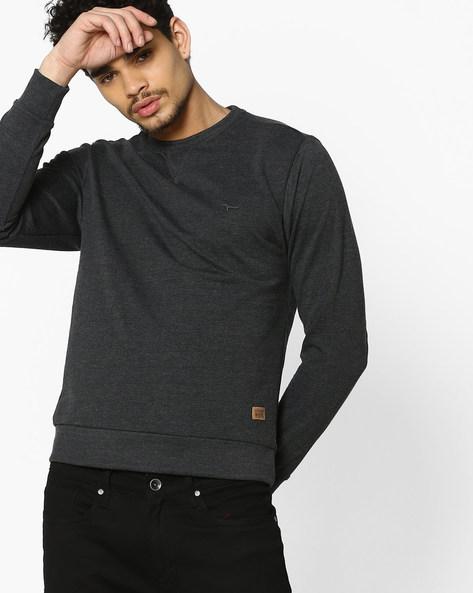 Crew-Neck Sweatshirt By FLYING MACHINE ( Black )