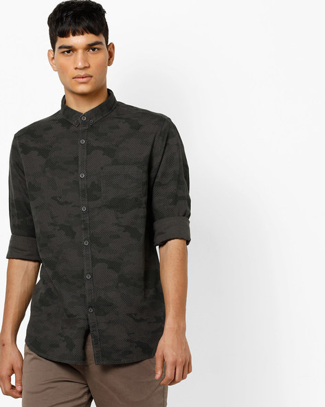 Printed Shirt With Button-Down Collar By AJIO ( Grey )