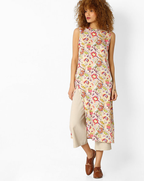 Floral Print Kurta With Side Slit By FUSION ( Offwhite )