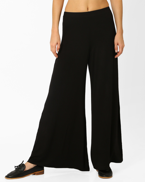 Palazzo Pants With Elasticated Waistband By And ( Black )