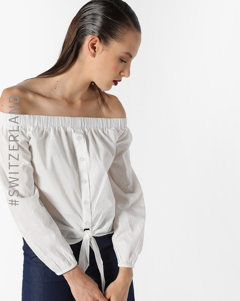 Striped Off-Shoulder Tie-Front Top By TALLY WEiJL ( White )