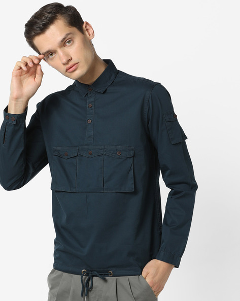 Front-Tie Shirt With Flap Pockets By AJIO ( Black )