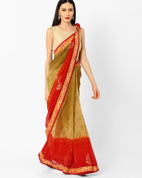 Printed Saree With Lace Border By Arissa ( Beige )