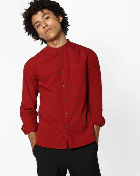 Classic Shirt With Mandarin Collar By AJIO ( Red )