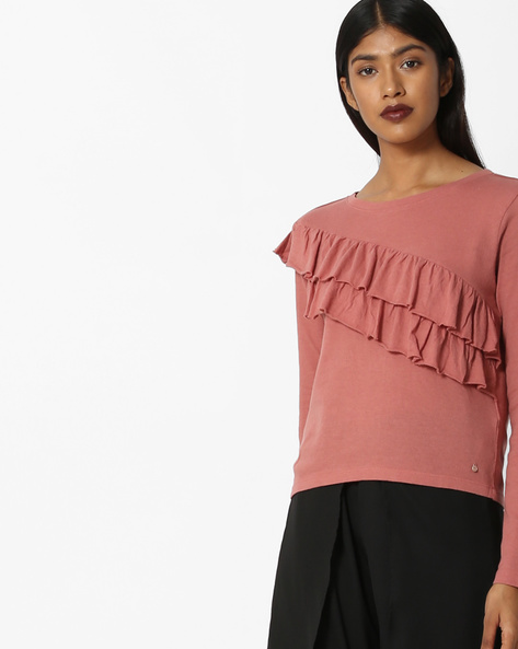 T-shirt With Tiered Ruffles By Only ( Red )
