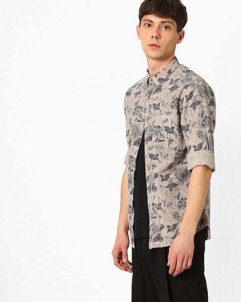 Floral Print Slim Fit Shirt By AJIO ( Grey )