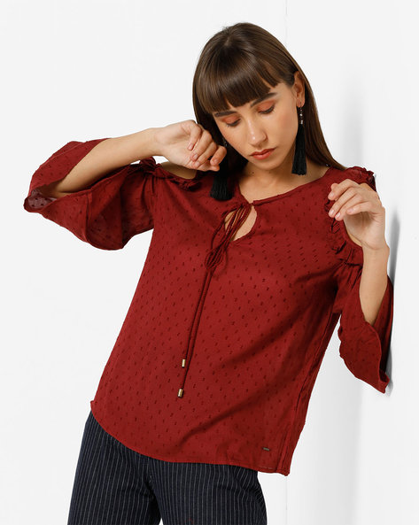 Cold-Shoulder Top With Tie-Up By Only ( Brown )