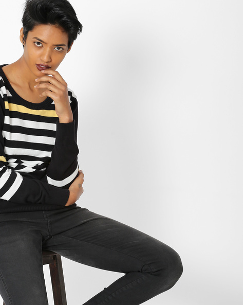 Striped Crew-Neck Pullover By Teamspirit ( Black )