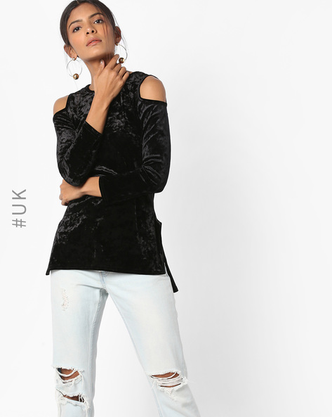 High-Low Top With Cold-Shoulder By INFLUENCE ( Black )