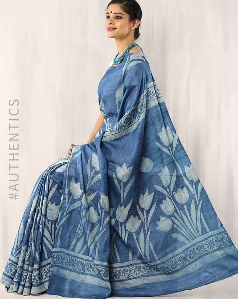 Dabu Print Pure Tussar Silk Saree By Indie Picks ( Blue )