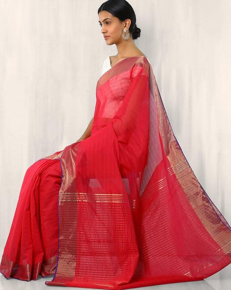 Handwoven Cotton Silk Zari Saree With Border By Rudrakaashe-MSU ( Red )