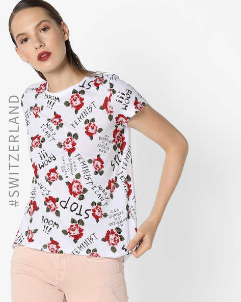 Graphic Print Crew-Neck T-shirt By TALLY WEiJL ( Multi )